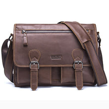 Load image into Gallery viewer, Crazy Horse Cowhide Leather Men Messenger Bag For Laptop Vintage Tote Shoulder Crossbody Bags