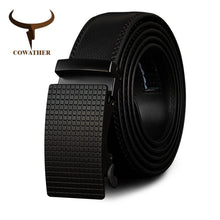 Load image into Gallery viewer, COWATHER Cow Genuine Leather Belts High Quality for Men Automatic Vintage Male Belt Brand Ratchet Buckle Belts 110-130cm long
