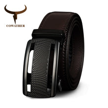 Load image into Gallery viewer, COWATHER Cow Genuine Leather Belts for Men High Quality Cowhide Leather Automatic Male Belt Vintage Metal Buckle Belt 110-130cm