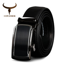 Load image into Gallery viewer, COWATHER Top Cow Genuine Leather Men Belts High Quality Men Automatic Buckle Male Belts Vintage Buckle Leather Belts 110-130cm
