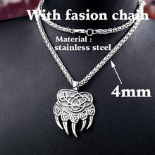Load image into Gallery viewer, Beier stainless Steel Amulet Viking Slavic God Symbol Warding Veles Bear Paw Necklace Men