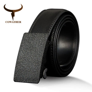 COWATHER Cow Genuine Leather Men's Belt Vintage Cowhide Belts for Men High Quality Male Strap Automatic Metal Buckle 110-130cm