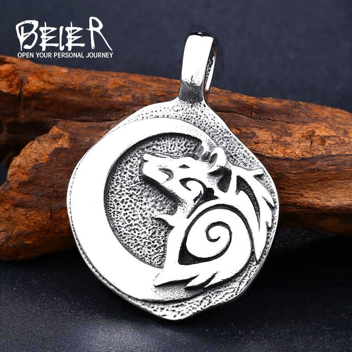 BEIER Stainless Steel Odin Wolf Pendant Necklace Viking Nordic Jewelry Men