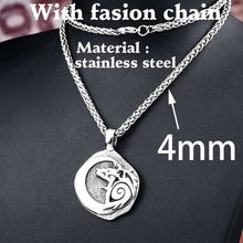 Load image into Gallery viewer, BEIER Stainless Steel Odin Wolf Pendant Necklace Viking Nordic Jewelry Men