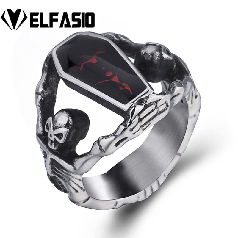 Gothic Vampire Skeleton Skull Bloody Red Enamel Coffin Stainless Steel Ring Men