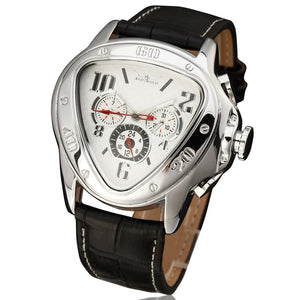 JARAGAR Fashion Sporty Men Auto Mechanical Watch Genuine Leather Strap 24H Date Display Triangle