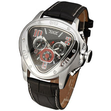 Load image into Gallery viewer, JARAGAR Fashion Sporty Men Auto Mechanical Watch Genuine Leather Strap 24H Date Display Triangle