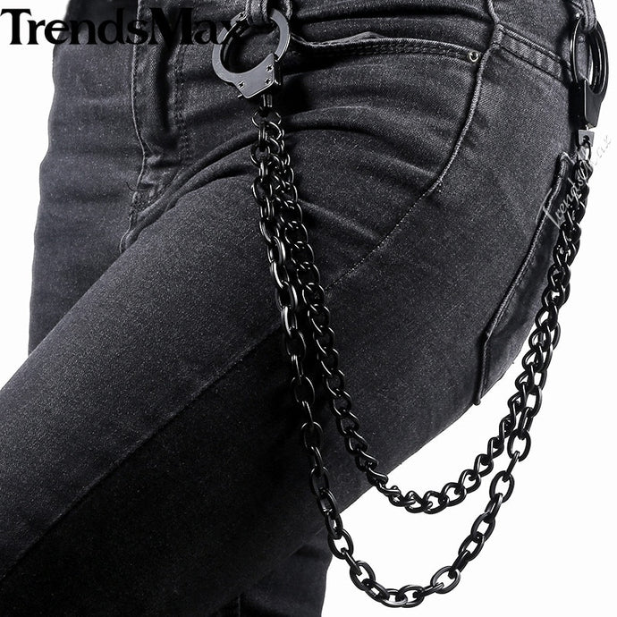 Black Metal Jean Chain 2 lines Curb Chains Punk Jean Men Biker Punk Rocker Accessories