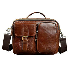 Load image into Gallery viewer, Genuine Leather Crossbody Shoulder Messenger Bag Tote Men Tablet Pouch Three Styles Distressed Dark Brown