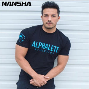 NANSHA Summer New Men Gyms T shirt Fitness Bodybuilding Crossfit  Slim Shirts Fashion Leisure Short Sleeved Cotton Tee Tops
