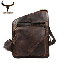 Load image into Gallery viewer, COWATHER Top cow genuine leather messenger bag versatile casual shoulder men's bags for men soild and zipper design male bag
