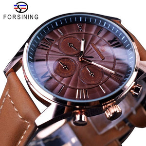 Forsining Swirl Dial Design Brown Genuine Leather Band Mens Watches