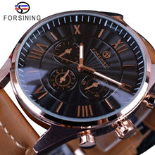 Load image into Gallery viewer, Forsining Swirl Dial Design Brown Genuine Leather Band Mens Watches