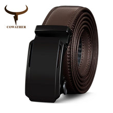 Load image into Gallery viewer, COWATHER High Quality Cow Genuine Leather Belts for Men New Arrival Automatic Buckle Male Strap Metal Buckle Cowhide Men Belt
