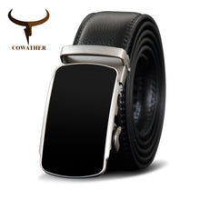 Load image into Gallery viewer, COWATHER Men Belt Cow Genuine Leather Male Strap Metal Automatic Buckle Belts For Men Cowhide Leather Strap Fashion Style Buckle