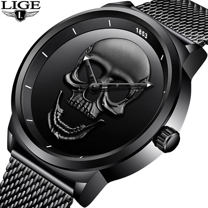 LIGE Brand Cool Skeleton Skull Quartz Mens Watches Mesh Steel Black Gold Silver Available