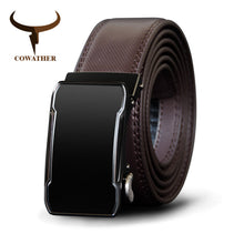 Load image into Gallery viewer, COWATHER Cow Genuine Leather Belt Top Quality Alloy Buckle Men Belts Automatic Buckle Cowhide Male Strap Black Brown Straps