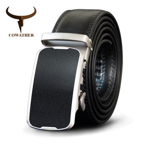 COWATHER Alloy Buckle Men Belt Cow Genuine Leather Belts For Men Automatic Buckle Cowhide Male Strap Fashion Black Straps CZ100