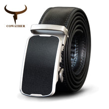 Load image into Gallery viewer, COWATHER Alloy Buckle Men Belt Cow Genuine Leather Belts For Men Automatic Buckle Cowhide Male Strap Fashion Black Straps CZ100