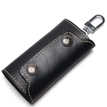 Load image into Gallery viewer, Vintage 100% Genuine Leather Key Wallet Women Keychain Covers Zipper Key Case Bag Men Key Holder Housekeeper Keys Organizer