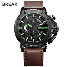 Load image into Gallery viewer, Genuine BREAK Quartz Male Watches Genuine Leather Watches Glow Hands