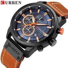 Load image into Gallery viewer, CURREN Genuine Leather Quartz Men Watch Sports Military WaterProof Chronograph Wristwatch