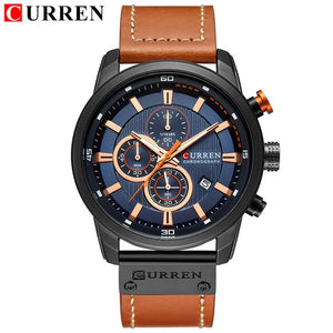 CURREN Genuine Leather Quartz Men Watch Sports Military WaterProof Chronograph Wristwatch