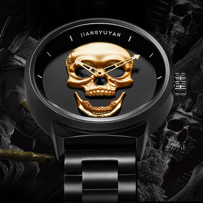 Unique Skeleton Skull Quartz Men Watches Mens Sports Wrist Watch