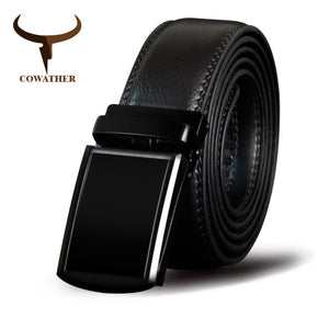 COWATHER Cowhide Men Belt Cow Genuine Leather Male Straps Alloy Automatic Buckle Cowskin Belts Metal Buckle Fashion Casual Strap