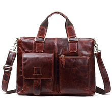 Load image into Gallery viewer, Real Genuine leather Men Designer Handbags Vintage Laptop Briefcases Office Shoulder Bags Tote Male Crossbody Messenger Bags