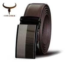 Load image into Gallery viewer, COWATHER  Men Belts Cow Genuine Leather Belt Automatic Buckle Male Strap Cowhide Alloy Buckle Fashion Male Cowskin Waistband