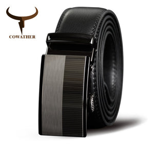COWATHER  Men Belts Cow Genuine Leather Belt Automatic Buckle Male Strap Cowhide Alloy Buckle Fashion Male Cowskin Waistband