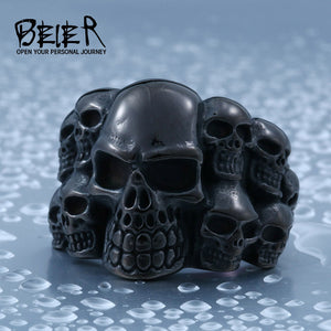 Beier 316L Stainless Steel Skulls Ring for men Biker Rocker Jewelry