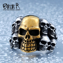 Load image into Gallery viewer, Beier 316L Stainless Steel Skulls Ring for men Biker Rocker Jewelry
