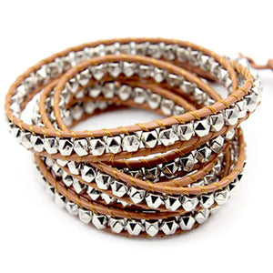 Metalic Beads Tan Leather Wrap BraceletUnisex Men Women by Desert Hex