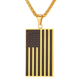 American Flag Do Tage USA Patriot Silver Gold Pendant Necklaces Men Women