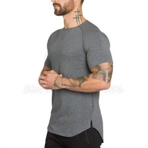 Short Sleeve T-Shirt Cotton Men Clothing Perfeyt Fit Bodybuilding Fitness Shirts