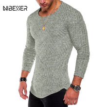 Load image into Gallery viewer, NIBESSER Spring Men T-shirts Plus Size 3XL Long Sleeve Striped T Shirt Casual O-Neck Solid Tshirt Elastic Hip Hop Tops 2019