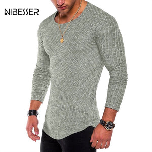 NIBESSER Spring Men T-shirts Plus Size 3XL Long Sleeve Striped T Shirt Casual O-Neck Solid Tshirt Elastic Hip Hop Tops 2019