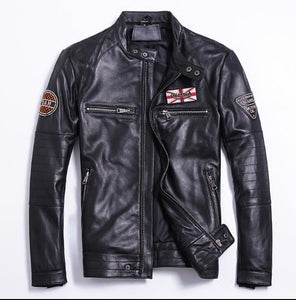 Genuine Sheepskin Leather Jacket Black Motorcycle Jackets Men Slim Fit Embroidered Oakland LA