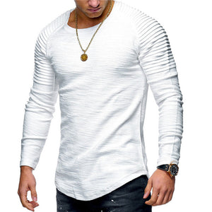 2018 New Fashion Men's Round Neck Slim Solid Color Long-sleeved T-shirt Striped Fold Raglan Sleeve Style T shirt Men Tops Tees
