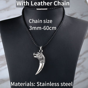 BEIER Stainless Steel Wolf Fang Pendant Necklace Tooth Viking Pendant Norse Jewelry