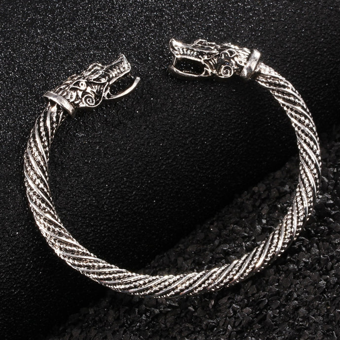 Viking Bracelet Stainless Steel Cuff Men Wolf Head Jewelry