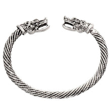 Load image into Gallery viewer, Viking Bracelet Stainless Steel Cuff Men Wolf Head Jewelry