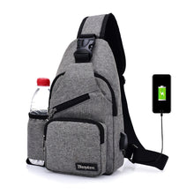 Load image into Gallery viewer, (USB Charge Interface) New Men Chest Bag Canvas Sling Bag Shoulder Satchel Large Crossbody Charing Bag With Side Bottle Pocket