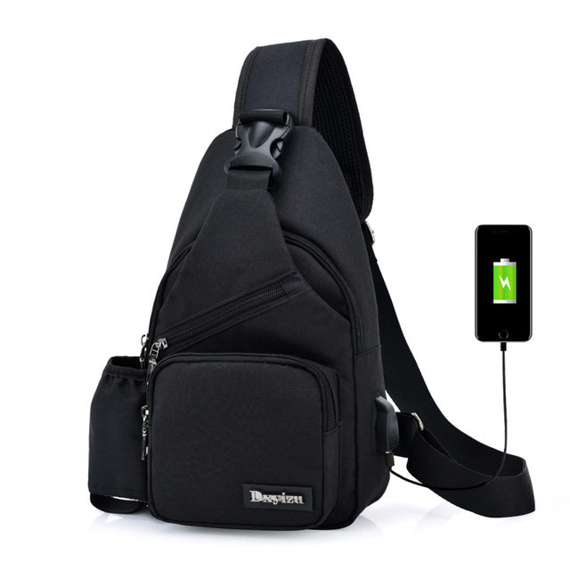 (USB Charge Interface) New Men Chest Bag Canvas Sling Bag Shoulder Satchel Large Crossbody Charing Bag With Side Bottle Pocket