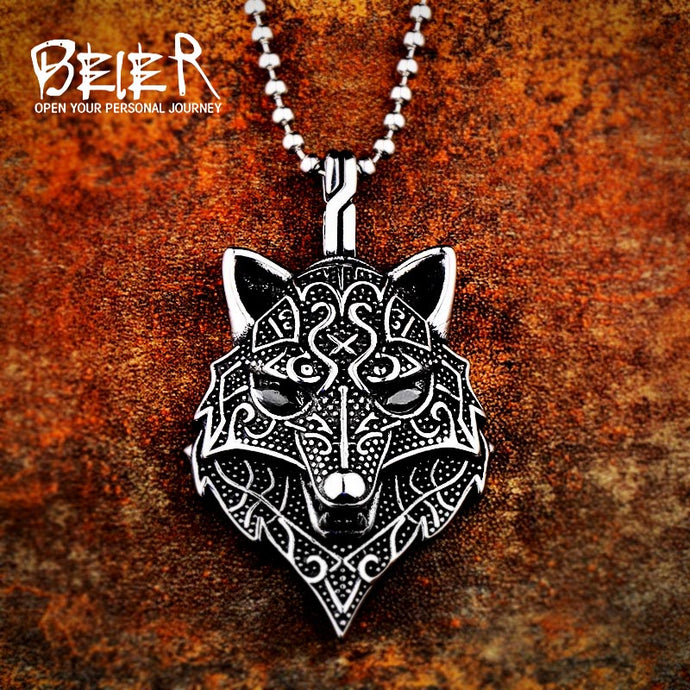 Beier 316L stainless steel Nordic Viking Amulet scandinavian wolf head Necklace Men