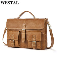 Load image into Gallery viewer, WESTAL Business Men Briefcases Genuine Leather Handbags Messenger Bag Men Leather Laptop Bag Male Briefcases office bags for man