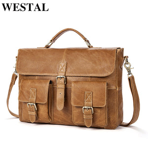 WESTAL Business Men Briefcases Genuine Leather Handbags Messenger Bag Men Leather Laptop Bag Male Briefcases office bags for man