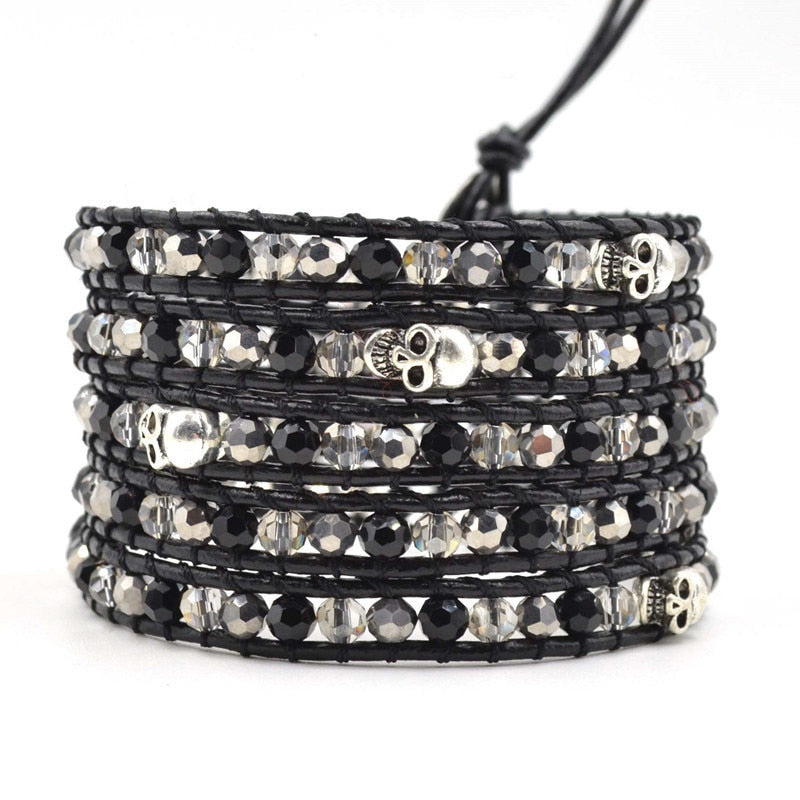 Beaded Black Leather Wrap Bracelet Silver Skull Designer Bracelets Men Women Unisex